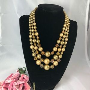 Three strand vintage Gold bronze crystal necklace